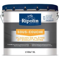 Sous-Couche Plaque de Plâtre, Mat, Blanc 10L Ripolin