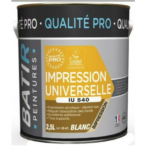 Sous couche universelle blanche 2,5L tous supports qualité pro IU540 BATIR
