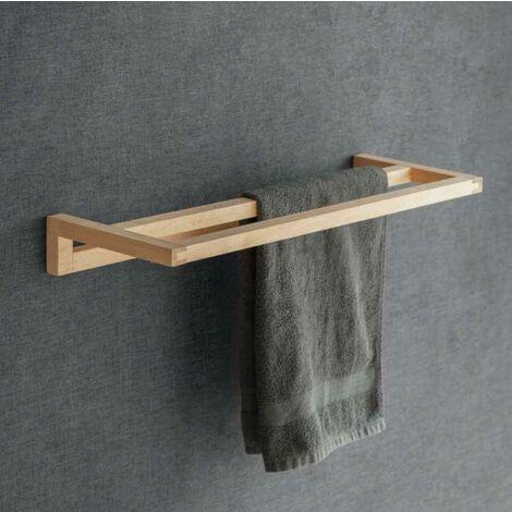 "main image of ""Southbourne Wooden Beech Bathroom Cloakroom Double Towel Rail Bar Holder Hanger"""
