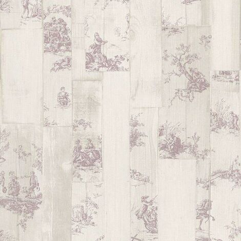 Souvenir Toile De Juoy Purple Wallpaper Rasch Wood Effect Paste The Wall Vinyl