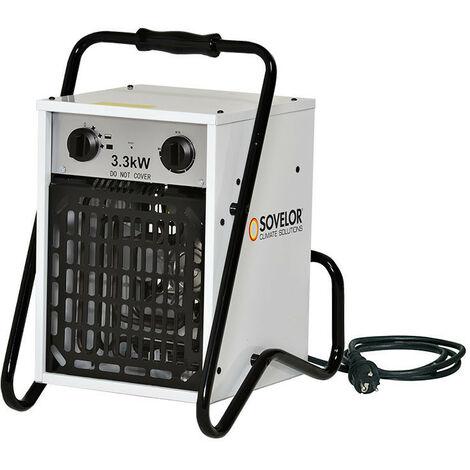 Sovelor - Chauffage air pulsé portable électrique avec thermostat d'ambiance intégré 3,3 kW 490m3/H 230V - B33/S