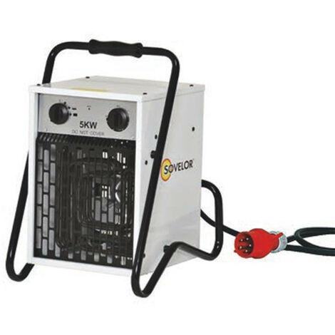 Sovelor - Chauffage air pulsé portable électrique avec thermostat d'ambiance intégré 5 kW 490m3/H 380V - B5C/S