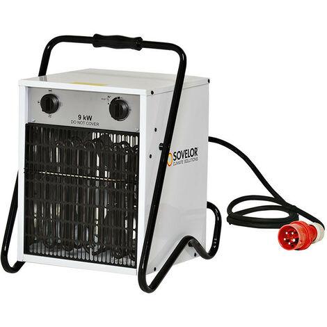 Sovelor - Chauffage air pulsé portable électrique avec thermostat d'ambiance intégré 9 kW 800m3/H 380V Triphasé - B9C/S