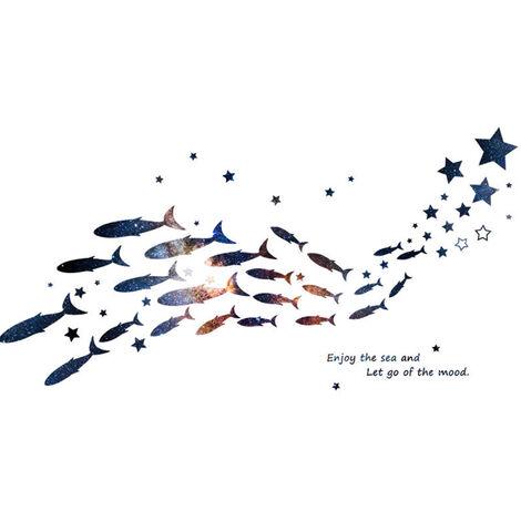 SP-64131 DIY Decoration Murale Autocollant-Star Fish School (taille finie 61 * 120cm)