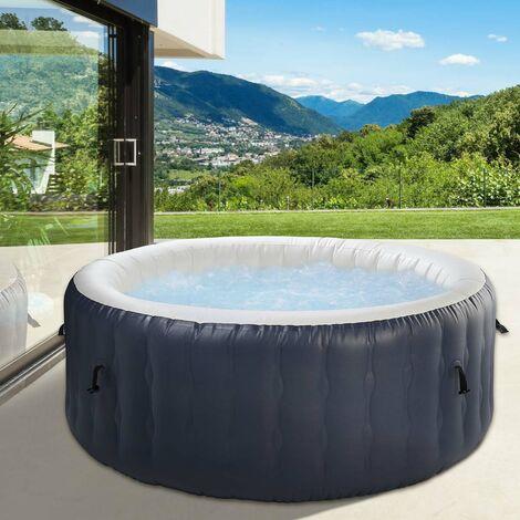 Spa gonflable 4 places 4 personnes rond SILVER SKY 180x68cm facile à gonfler, à nettoyer et à dé(Monter), robuste, certifié + couvercle + tapis de sol + accessoires de Brast