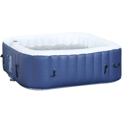 Spa gonflable carré 4 personnes dim. 1,85L x 1,85l x 0,65H m - 100 buses d'air hydro-massantes - fonctions chauffage filtration - liner PVC blanc bleu