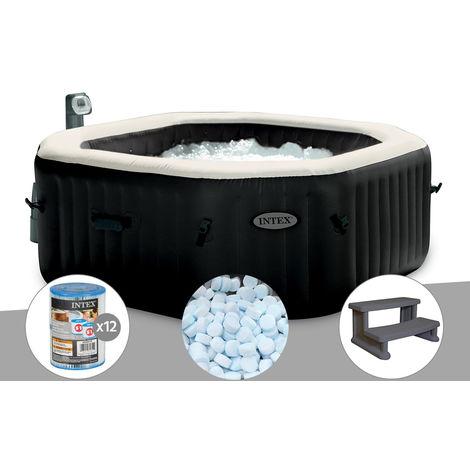 Spa gonflable Intex PureSpa octogonal Bulles et Jets 6 places + 12 Cartouches de filtration + 5 kg de Sel + Marche Spa