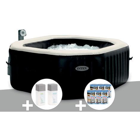 Spa gonflable Intex PureSpa octogonal Bulles et Jets 6 places + 12 Cartouches de filtration + Kit Traitement