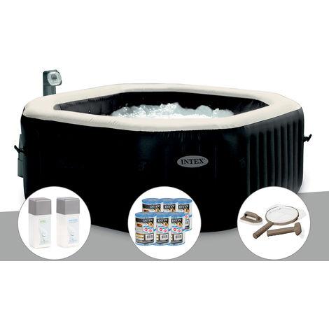 Spa gonflable Intex PureSpa octogonal Bulles et Jets 6 places + 12 Cartouches de filtration + Kit Traitement + Kit Entretien