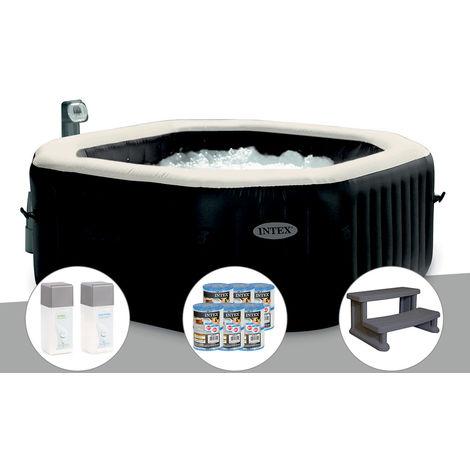 Spa gonflable Intex PureSpa octogonal Bulles et Jets 6 places + 12 Cartouches de filtration + Kit Traitement + Marche Spa