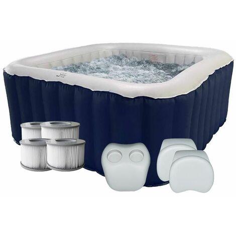 Spa gonflable jacuzzi carré bleu IOS 4 places + 2 appuis-tête + 1 porte gobelet + 4 filtres supplémentaires