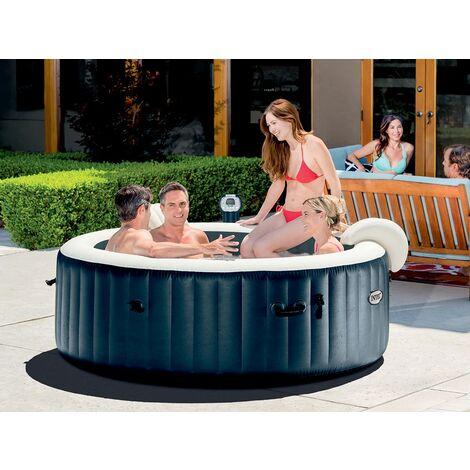 spa gonflable purespa rond bulles 6 places bleu nuit. Black Bedroom Furniture Sets. Home Design Ideas