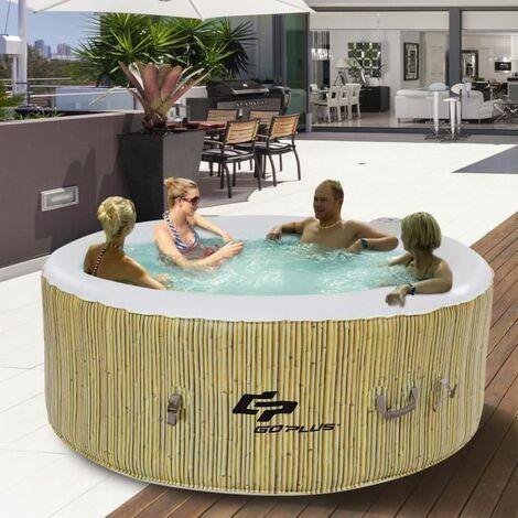 Spa Gonflable Spa 4 Places Spa Rond Chauffage,Massage à bulles,Filtration de L'Eau,Gonflage Automatique 180 x 180 x 65 cm