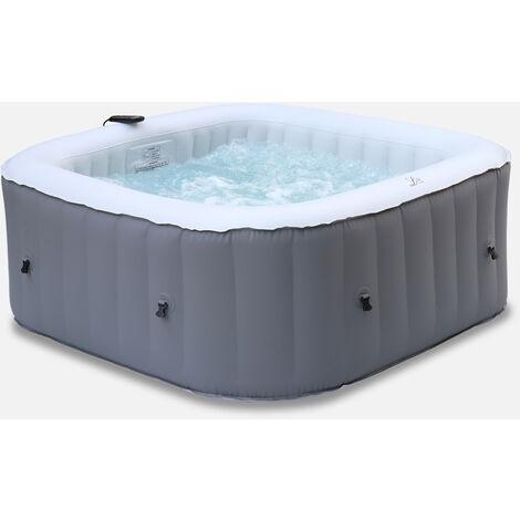Spa hinchable cuadrado MSPA -California 4 - spa 4 personas 160cm cuadrados, PVC, bomba, calefacción, inflador, filtro, alfombra y control remoto - Gris