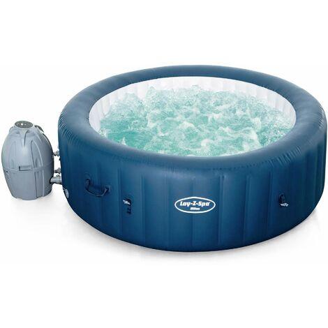 Spa Lay-Z Airjet plus – Milan bleu – Spa gonflable 6 personnes rond Ø200cm, PVC, avec commande à distance, chauffage, gonfleur, filtre, diffuseur, couverture isolante