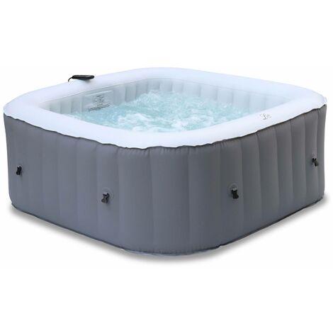 Spa MSPA gonflable carré – Fjord 4 gris - Jacuzzi 4 personnes carré 160cm, PVC, pompe, chauffage, gonfleur, 2 cartouches filtrantes, bâche, diffuseur et télécommande de contrôle