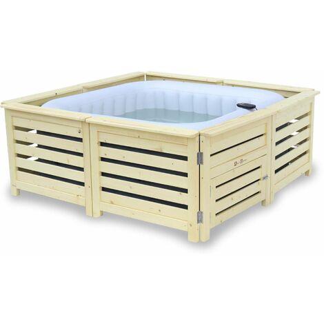 Spa MSPA gonflable carré – Fjord 4 gris - Spa gonflable 4 personnes carré 160cm avec accessoires et habillage en bois naturel, modulable