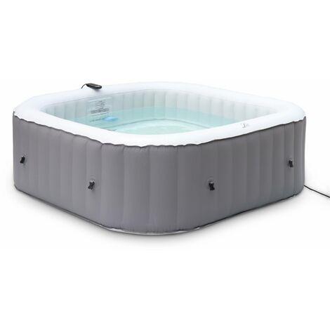 Spa MSPA gonflable carré – Fjord 6 gris - Jacuzzi 6 personnes carré 185cm, PVC, pompe, chauffage, gonfleur, filtre, bâche, tapis de sol et télécommande de contrôle