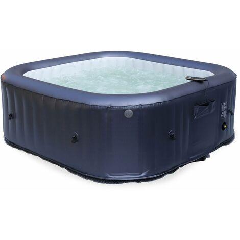 Spa MSPA gonflable carré – OTIUM 6 bleu nuit - Jacuzzi 6 personnes carré 185 cm, PVC, pompe, chauffage, gonfleur, hydrojets de massage, 2 cartouches filtrantes, bâche et télécommande de contrôle