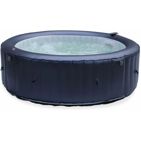 Spa MSPA gonflable rond – CARLTON 6 - Spa gonflable 6 personnes rond 205 cm, PVC, pompe, chauffage, gonfleur, hydrojets de massage, 2 cartouches filtrantes, bâche et télécommande de contrôle
