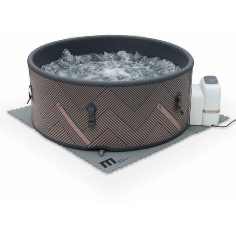 Spa MSPA gonflable rond – Mono 6 gris– nouveau modèle - Jacuzzi 6 personnes Ø 173 cm, PVC renforcé rigide, pompe, chauffage, gonfleur, filtre, bâche, tapis de sol