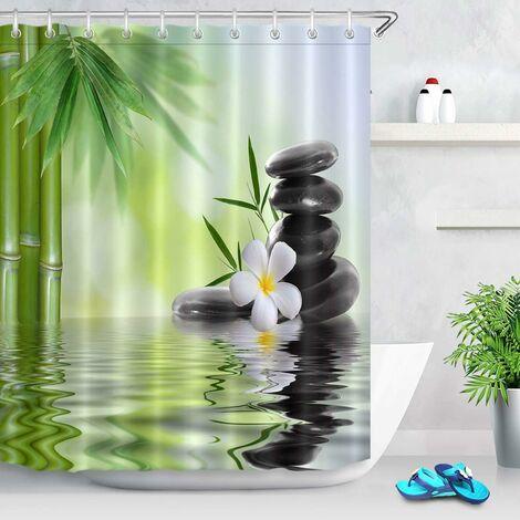 Spa Rideau de Douche avec des Crochets,180 x 200 cm Pierres Noires Orchidées Bambou Eau À Motifs Rideau de la Salle de Bain Résistant à l'eau Anti-moisissure Lavable Tissu en Polyester