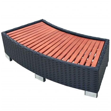 Spa Step Poly Rattan 92x45x25 cm Black