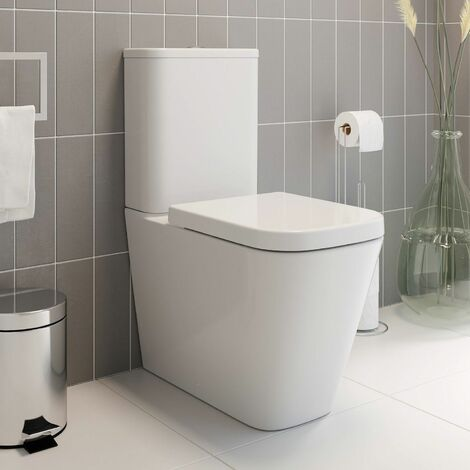 Space Saving Bathroom WC Toilet Dual Flush White Gloss Ceramic Soft Close Seat