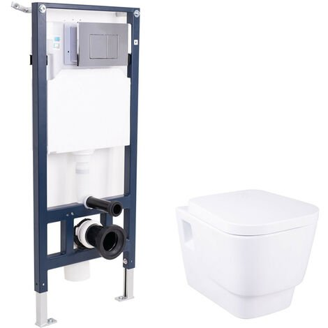 Space Saving Wall Hung White Ceramic Toilet WC Soft Close Seat Cistern Mounting Frame