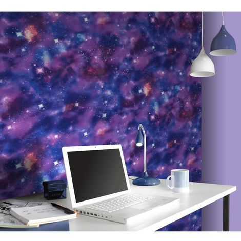Space Wallpaper Cosmic Planets Glitter Stars Abstract Modern Purple Rasch