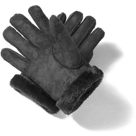 SPACEFLIGHT klassische Lederhandschuhe für Winter/ Herbst, Split Leder Handschuhe mit Kunstfell, gefüttert, elegante Voll Fingerhandschuhe, Unisex, Größe S und M