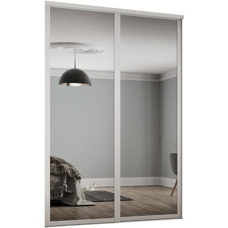 Spacepro 2x610mm Shaker White Framed Mirror Sliding Doors H2260 W1145mm