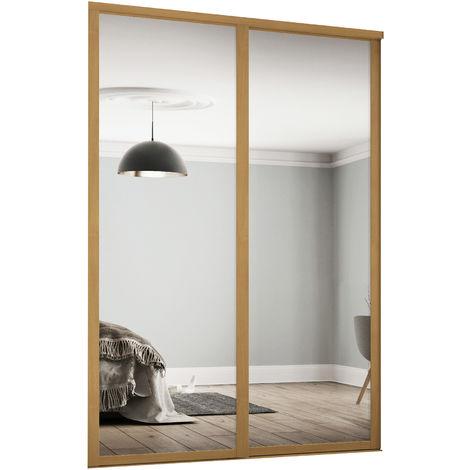 Spacepro 2x762mm Shaker Oak Framed Mirror Sliding Doors H2260 W1449mm