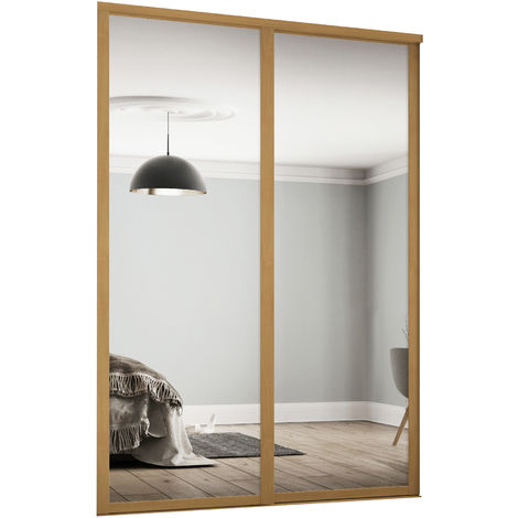 Spacepro 2x914mm Shaker Oak Framed Mirror Sliding Doors H2260 W1753mm