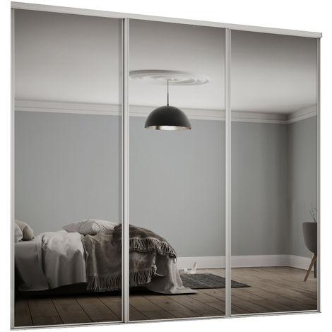 Spacepro 3x610mm Hertiage White Framed Mirror Sliding Doors H2260 W1780mm