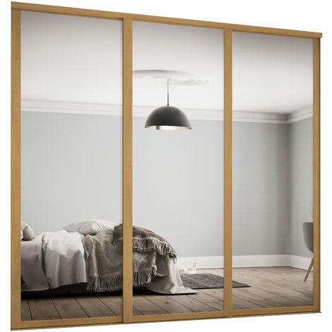 Spacepro 3x762mm Shaker Oak Framed Mirror Sliding Doors H2260 W2136mm