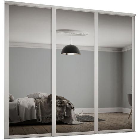 Spacepro 3x762mm Shaker White Framed Mirror Sliding Doors H2260 W2136mm