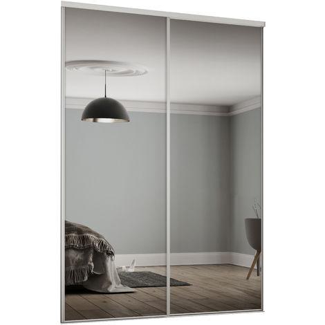Spacepro Twinpack 610mm White Framed Mirror Sliding Doors H2260 W1195mm