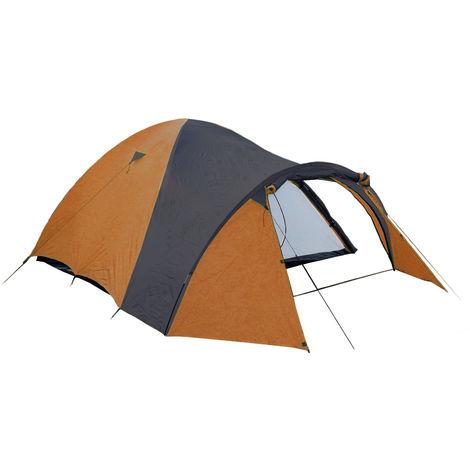 Spacious Igloo Camping Tent for 3 People - Orange/ Black - 3000 mm Water Column