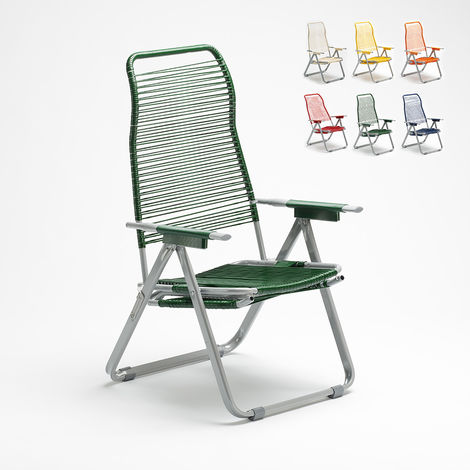 SPAGHETTI folding steel corded garden deckchair   Green