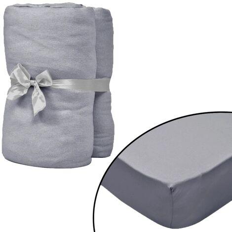 Spannbettlaken Kinderbett 4 Stk. 40 x 80 cm Baumwolljersey Grau