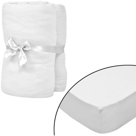 Spannbettlaken Wasserbett 2 Stk. 200x220 Baumwolljersey Weiß