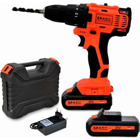 Spark - Cordless Impact Drill, 21V, battery screwdriver, 2pcs 1.5Ah Lithium battery, 10mm chuck, 2 Speeds, 18+1 Torque Settings