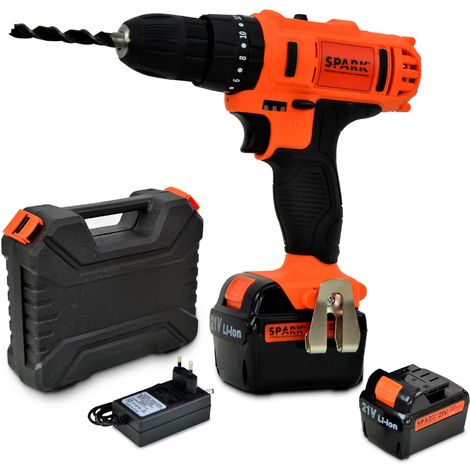 Spark - Cordless Impact Drill, 21V, Battery screwdriver, 2pcs 2.0Ah Lithium batteries, 10mm chuck, 2 Speeds, 18+1 Torque Settings