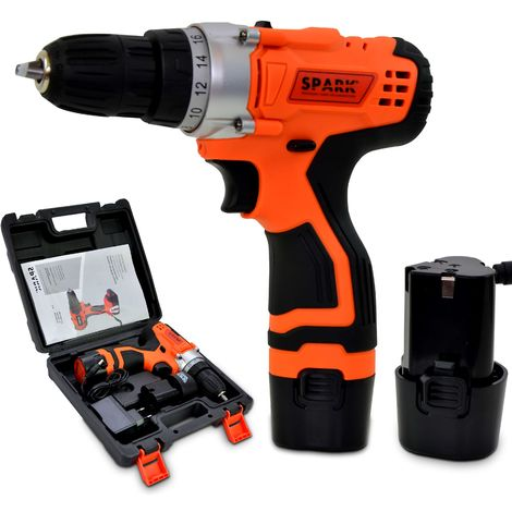 Spark - Cordless Screwdriver, Battery Drill, 12V, 2pcs 1.5Ah Lithium battery, 10mm chuck, 2 Speeds, 18 Torque Settings