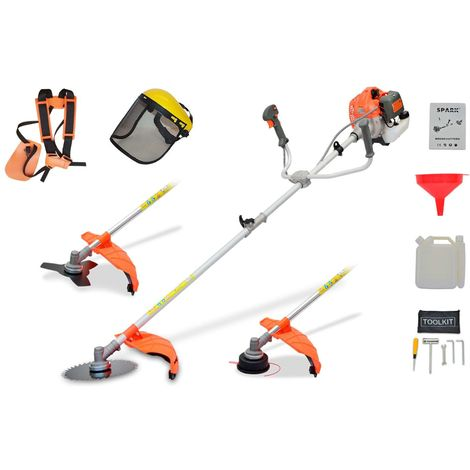 Spark - Petrol Brush Cutter 52cc, Multifunctional 3 In 1, 2.21HP/1650W, Harness And Safety Helmet, 3 Heads, 2 Stroke Petrol Engine