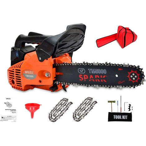 """Spark - Petrol Chainsaw 25cc Engine, Blade 30cm/12"""", 44 Chain Links, Easy Start, 880W 1,3CV Power, Anti Vibration System, 2 Chains Included and Transport Bag Included"""