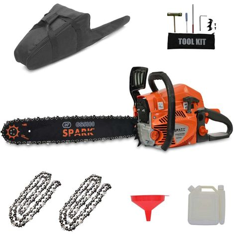 """Spark - Petrol Chainsaw 58cc Engine, Blade 50cm/20"""", 76 Chain Links, Easy Start, 2400W 3.2CV Power, Anti Vibration System, 2 Chains and Transport Bag Included"""