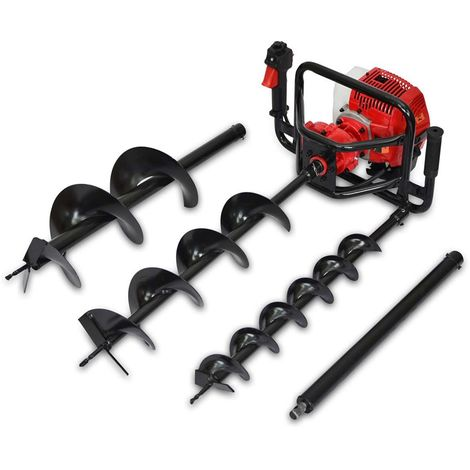 Spark - Petrol Earth Auger 2200W/3HP, Ground Drill 62cc, Earth Drill 1700RPM, 2 Stroke Engine, 3 Drills (100mm, 150mm, 200mm)