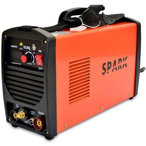 Spark - WIG-schweißgerät MMA TIG 200A / 220V DC, Digitalanzeige, Max. Elektrodengröße 4,00mm, Tragbare Inverter Schweißmaschine, Lichtbogen Schweißgerät, Inklusive Zubehör